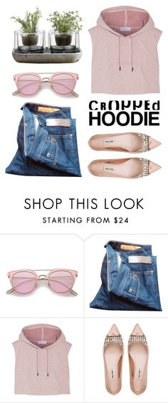 """Cropped Hoodie"" by leabe ❤ liked on Polyvore featuring J.Crew, adidas, Miu Miu and Nude"