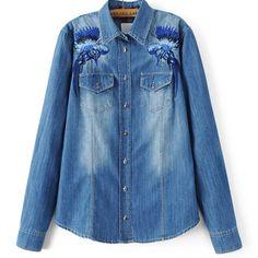 Купить товарДля женщин Вышивка джинсовая рубашка с длинными рукавами и отложным воротником Птица синие джинсы Блузка модная верхняя одежда на сезон весна осень Camisas Mujer blusas в категории Блузки и рубашкина AliExpress. Для женщин Вышивка джинсовая рубашка с длинными рукавами и отложным воротником Птица синие джинсы Блузка модная верхняя одежда на сезон весна-осень Camisas Mujer blusas