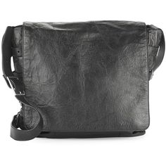 John Varvatos Leather Front-Flap Crossbody Bag (17,655 MXN) ❤ liked on Polyvore featuring men's fashion and men's bags