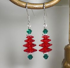 Red Green Christmas Holiday Crystal Tree Earrings Made With Swarovski Elements