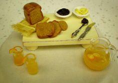Kitchen/Buffet Tray - Shabby Chic Tray w/Breakfast Bread - Dollhouse Miniature 1:12 Scale -  Bread - Butter - Jam & Juice. $24.00, via Etsy.