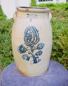 Isaac Wands, Olean, New York Stoneware Churn with Huge Floral Antique Stoneware, Stoneware Crocks, Penn Yan, Old Crocks, Wands, Finger Lakes, Pottery, York, Dresden