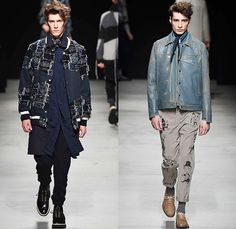 MIHARAYASUHIRO 2015-2016 Fall Autumn Winter Mens Runway Catwalk Looks - Mode à Paris Fashion Week Mode Masculine France - Patchwork Frayed Denim Jeans Outerwear Nautical Coat Parka Jogger Sweatpants Cardigan Layers Slouchy Scarf Knit Weave Blazer Sportcoat Multi-Panel Hoodie Quilted Brogues Bag Sweater Jumper Chunky Plaid Thigh Panel Hat Bomber Jacket Double Pants Trousers Suspenders Shawl