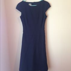 Anne Klein Navy Cap Sleeve Dress Lovely navy blue cap sleeve dress by Anne Klein. Size is 6, but it runs really small. It fits more like a 2/4! Zips in back. Lined at the top. Feel free to make an offer! Anne Klein Dresses