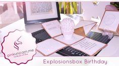 Explosionsbox basteln | Geburtstagsgeschenk | DIY Bastelideen | Anleitung | PinkUnicorn.me - YouTube