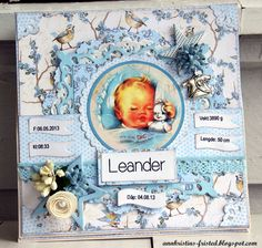 Ann Kristin at scrapping.no have made this cute cute babycard using the Lykke-collection