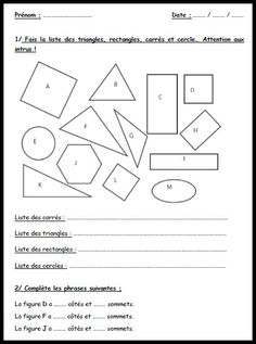 exo formes geometrie Math Figures, French Immersion, Cycle 3, French Lessons, Teaching French, Homeschool, Recherche Google, Mary, Instagram