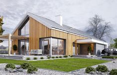 Modern Barn House, Modern Cottage, Modern House Design, Forest House, Facade House, Home Projects, Bungalow, Building A House, House Plans