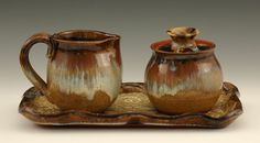 TEA CREAMER SUGAR CANISTER HANDCRAFTED STONEWARE HANDMADE CERAMICS by GAULEY RIVER POTTERY WV