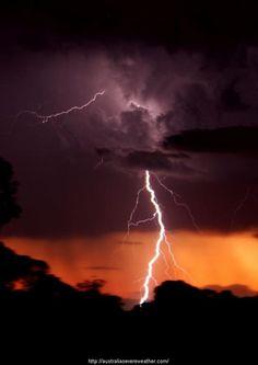 Australian lightning at sunset