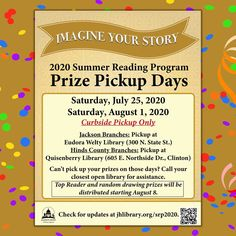 SUMMER READING PROGRAM UPDATE: Participants, check your email! Prize Pickup Days on July 25 & August 1 (Saturdays) will be done curbside at Eudora Welty Library for Jackson branches and Quisenberry Library of Clinton for Hinds County branches. Read the email or go to jhlibrary.org/srp2020 under Prizes for step-by-step instructions. #SRP2020 #ImagineYourStory