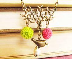 Sara Flower Garden  Bird  Necklace,brass tree,chips beads,green,pink,brass chain,great gift for Holiday $36.00