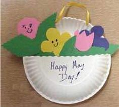 May Day Flowers Crafts May Day Kids Crafts Paper Plate May Day Basket  Flowers Spring - Mother's Day Craft