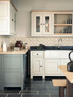 Fired Earth freestanding Bastide painted kitchen with Marrakech tiles