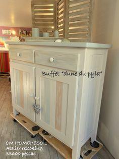 buffet bahut relooké bord de mer bois massif patiné lin bleu céladon relooking cm homedeco