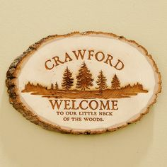 Personalized Pine Wood Log Sign.