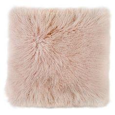 Mongolian Sheepskin Cushion Blush   Large