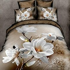 EsyDream 100% Cotton White Floral Print Bed Sheet Sets 4PC No Quilt Queen Size White Flowers Hotel Bedding Sets - Brought to you by Avarsha.com