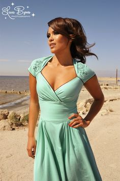 Pinup Couture - The Luscious Dress in Mint with Mira the Mermaid