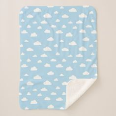 #White Cartoon Clouds on Light Blue Background Patt Sherpa Blanket - #cute #gifts #cool #giftideas #custom