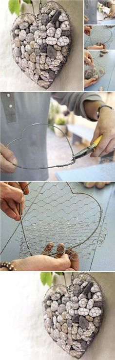 You can make a stone heart to uniquely decorate your balcony or your patio. You need some regular wire, some chicken wire and stones. First, by curling the regular wire, make a heart shape. Then, c…