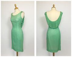 Vintage 50s mint green silk crepe fringed bombshell cocktail wiggle dress - size S