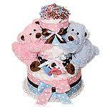 Boy and Girl Bears Twins Diaper Cake