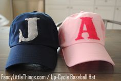 Up-Cycle Baseball Hat {for kids & adults! Kids Baseball Caps, Baseball Hats, Hat Crafts, Loot Bags, Diy Hat, Cute Hats, Sewing Toys, Kids Hats, Diy Accessories