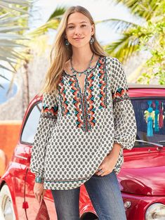 ADELLE TOP -- Your go-to peasant top for the season brings softness and comfort. A sweet split neck showcases exquisite embroidery details. Fully lined. Sizes XS S to M to L to XL Approx. Boho Fashion, Fashion Outfits, Fashion Design, I Fall To Pieces, Ethnic Dress, Lace Inset, Peasant Tops, Wardrobes, Everyday Fashion