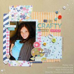 Becky Litz Sept Creative Kit from My Creative Scrapbook Kit Club Sketch Design, Scrapbook Kit, Scrapbooking, Crafty, Creative, Frame, How To Make, September, Club