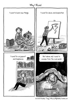 Why I read - another insightful cartoon by Debbie Tung. It's included in her book - Book Love - that has been published in January. You can get iTunes in both print and Kindle Introvert Love, Introvert Quotes, I Love Books, Good Books, Books To Read, Book Memes, Book Quotes, Poetry Quotes, Quotes Quotes