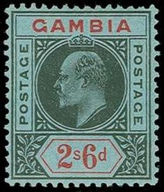 Gambia, SG 84a, 1909 2/6 Black and red on blue, Dented frame variety, well centered with fresh colors, o.g., Very Fine (SG £550)