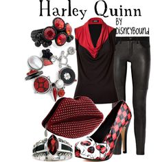 Cartoon Fashion: a Harley Quinn outfit? Adorable! Love the red, black and white mixes.