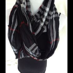 Black red and white infinity scarf This is new w tags attached. So much style in this one piece. Dress it up or down. Versatile. So cute Accessories Scarves & Wraps
