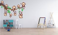 Lots of cute monkeys hanging and sitting on a branch.art of the Hanging Monkey Theme. Three monkeys hanging and sitting on a branch. Kids Wall Decals, Wall Stickers, Kids World Map, Gray Tree, Cute Monkey, Tree Wall, Swirls, Baby Room, Wall Decor