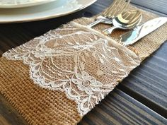 #Lace and #burlap combined ...love! {AmyNelly's Shabby Chic Shop}