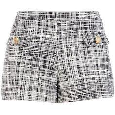 Boutique Moschino Bermuda Shorts ($99) ❤ liked on Polyvore featuring shorts, bottoms, short, pants, black, jersey shorts, high-rise shorts, patterned shorts, print shorts and zipper shorts