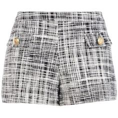 Boutique Moschino Bermuda Shorts ($200) ❤ liked on Polyvore featuring shorts, black, high waisted bermuda shorts, high-rise shorts, patterned shorts, jersey shorts and high rise shorts