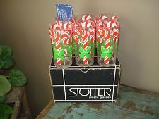 Vintage Stotter Christmas Candy Cane 6 High Ball / WATER Plastic Glasses W BOX