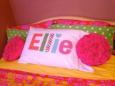Personalized Pillow Case - Pillows Case - Ideas of Pillows Case - Super cute personalized Pillow Cases. Great for slumber party sleepovers! Kids Sleepover, Slumber Parties, Diy For Kids, Gifts For Kids, Sewing Crafts, Sewing Projects, Personalized Pillow Cases, Applique Monogram, Kids Pillows