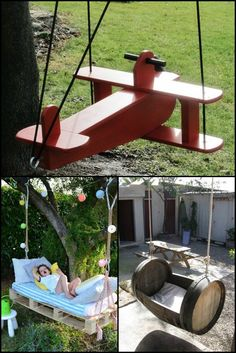 15 Swing Ideas That Will Blow Your Kids' Minds  http://theownerbuildernetwork.co/6w9e     Why buy an expensive swing set for kids when you can use recycled materials to build them one.  Which of these kids' swing do you like best?