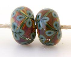 Deep GREEN and RAKU Flower Pair Handmade Lampwork Glass by taneres