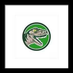 Raptor Head Side Circle Retro Framed Print by Aloysius Patrimonio.   Illustration of a raptor t-rex dinosaur lizard reptile head viewed from side set inside circle on isolated background done in retro style. #illustration #RaptorHead