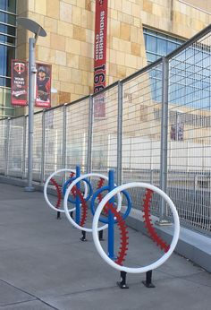 Target Field Station Bicycle Racks - Greg Ingraham - Eighteen artful bicycle racks enliven the Minnesota Twins Stadium Plaza/Target Field Transit Station.