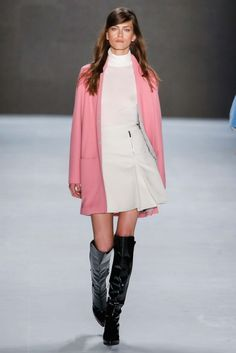White Turtle Neck Top with a Matching White Skirt and a Rich Cotton Candy Colored Coat by Laurèl Berlin Fall 2015 - Collection - Gallery - Style.com