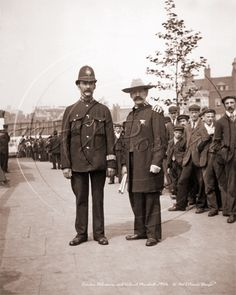 Featuring a London Policeman posing with Colonel Marshall of the Salvation Army, somewhere in London during the early 1900s