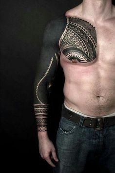 One Awesome Blackwork tattoo Sleeve Más Solid Black Tattoo, Black Ink Tattoos, Body Art Tattoos, New Tattoos, Tribal Tattoos, Tattoos For Guys, Latest Tattoos, Blackout Tattoo, Maori Tattoo Designs