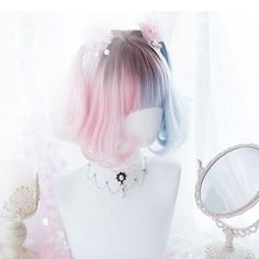Drawing Hairstyle Lolita Blue Pink Gradient Short Wig - Product ID: High Temperature FiberColor: Gradient blue purpleWig Length: 35 cm Pelo Lolita, Lolita Hair, Kawaii Hairstyles, Pretty Hairstyles, Frontal Hairstyles, Wig Hairstyles, Hairstyles 2018, Kawaii Wigs, Wig Styling