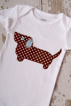 Adorable Weenie Dog Appliqued Onsie in Blue and by hoolovesyoubaby, $14.50