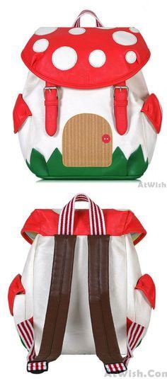 Lovely Cartoon 3D Mushroom Leather Backpack &Schoolbag for big sale! #mushroom #cartoon #Backpack #Bag #lovely